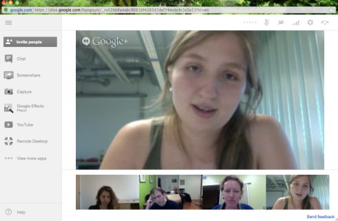 Stefany Moreno (in large window), Alison Hill, Daniel Rosenbloom and myself in one of the many Google Hangout meetings we had.